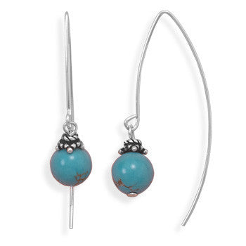 Reconstituted Turquoise Bead Long Wire Earrings-Earrings-Here Comes The Bling™
