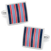 Red and Navy Striped Square Cufflinks-Cufflinks-Here Comes The Bling™