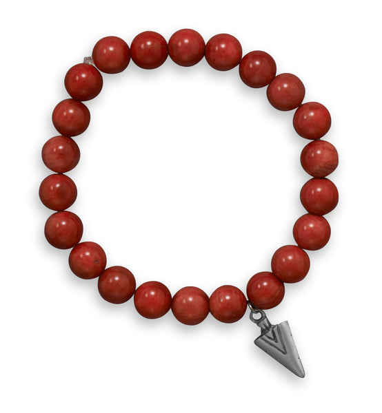Red Coral Stretch Bracelet with Pewter Arrow Charm-Mens-Bracelets-Here Comes The Bling™