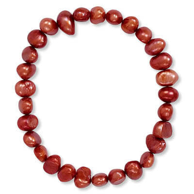 Red Cultured Freshwater Pearl Stretch Bracelet-Bracelets-Here Comes The Bling™