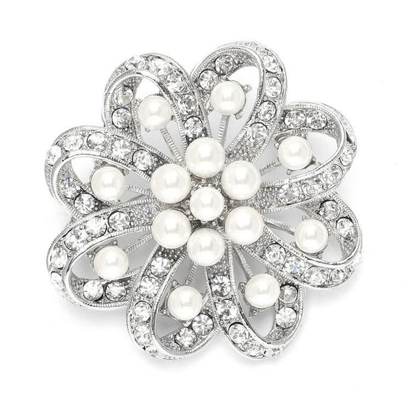 Regal Crystal & Pearl Swirl Vintage Wedding Brooch-Combs-Here Comes The Bling™