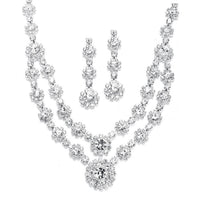 Regal Silver Two Row Rhinestone Neck Set-Sets-Here Comes The Bling™