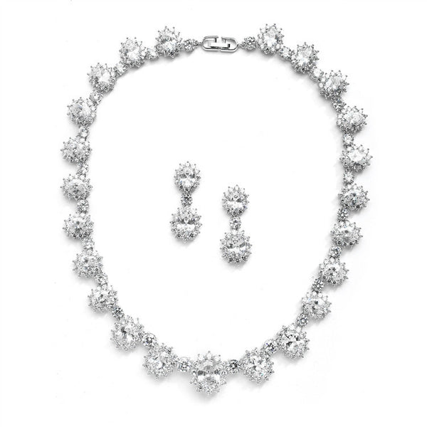 Regal Wedding Necklace Set with Round CZ Stones-Sets-Here Comes The Bling™