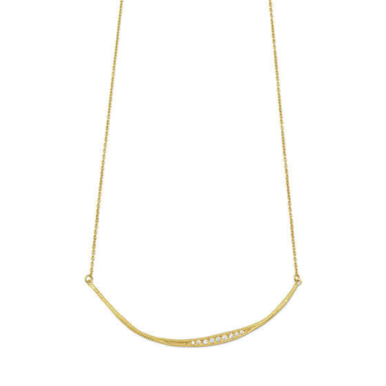 Rextured Gold CZ Bar Necklace-Necklaces-Here Comes The Bling™