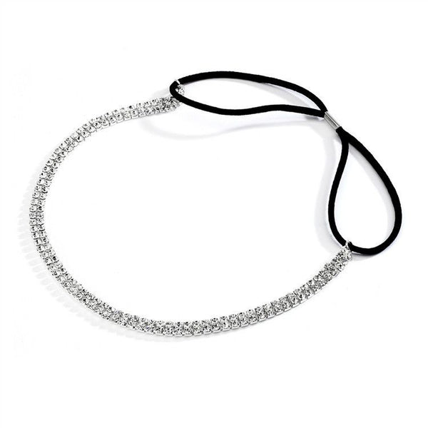 Rhinestone Adjustable Stretch Headband (Available in 2 Colors)-Headband-Here Comes The Bling™