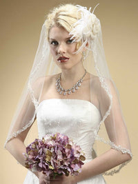 Rhinestone Edge Mantilla Wedding Veil with Floral Appliqu& egrave; - Ivory-Veils-Here Comes The Bling™
