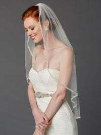 Rhinestone Edge Wedding Veil with Pearls & Beads-Veils-Here Comes The Bling™