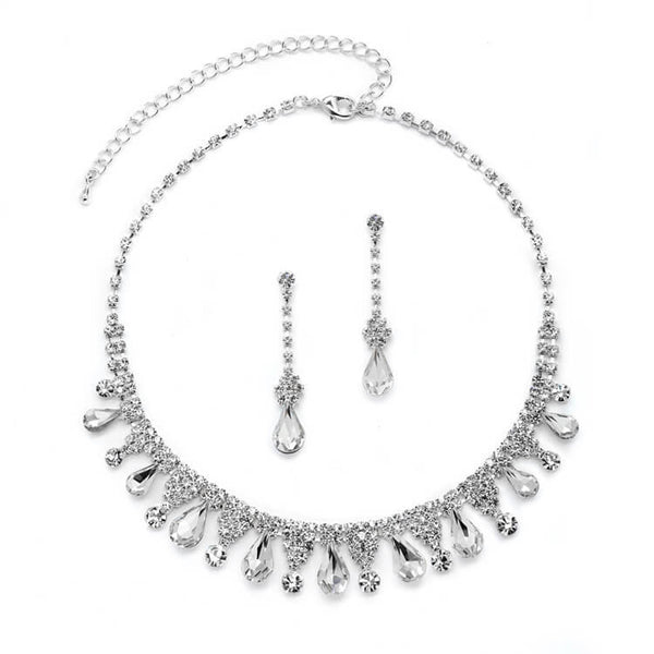 Rhinestone Prom or Cocktail Necklace Set with Pear-shaped Crystals-Sets-Here Comes The Bling™