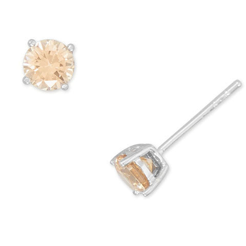 Rhodium Champagne CZ Stud Earrings-Earrings-Here Comes The Bling™
