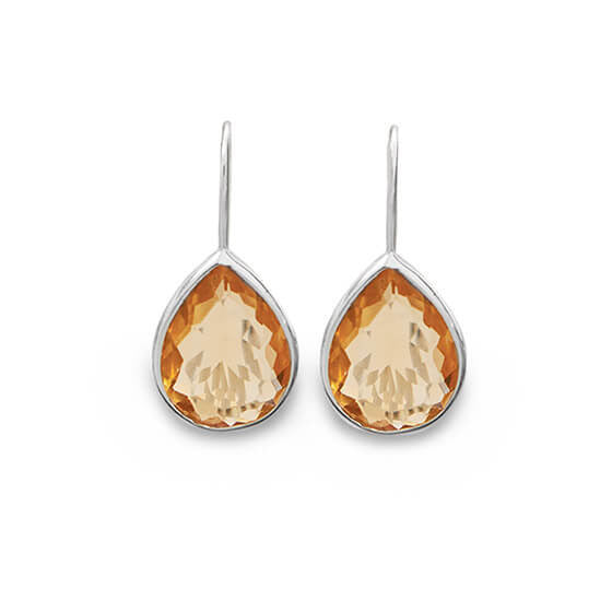 Rhodium Champagne Pear Glass Drop Earrings-Earrings-Here Comes The Bling™