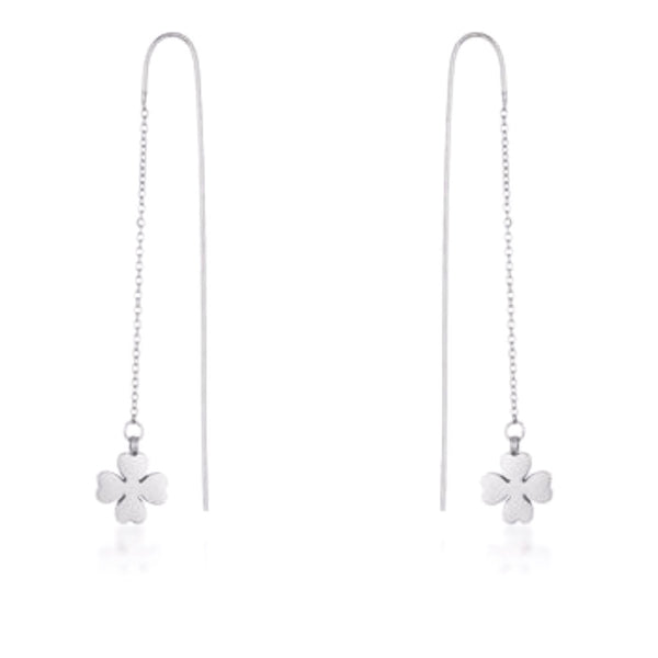 Rhodium Clover Thread Drop Earrings-Earrings-Here Comes The Bling