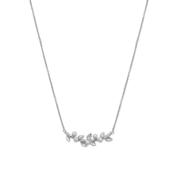 Rhodium Cultured Freshwater Pearl Branch Necklace-Necklaces-Here Comes The Bling™