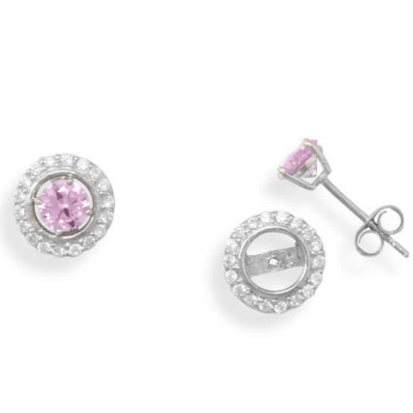 Rhodium CZ Frame Earring Jackets. Pink CZ Stud Earrings Sold Separately.-Earrings-Here Comes The Bling™