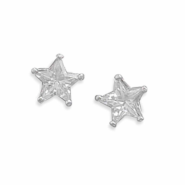 Rhodium CZ Star Earrings-Earrings-Here Comes The Bling™