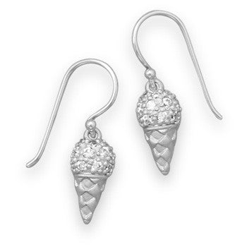 Rhodium Ice Cream Cone Earrings-Girls-Jewelry-Here Comes The Bling™