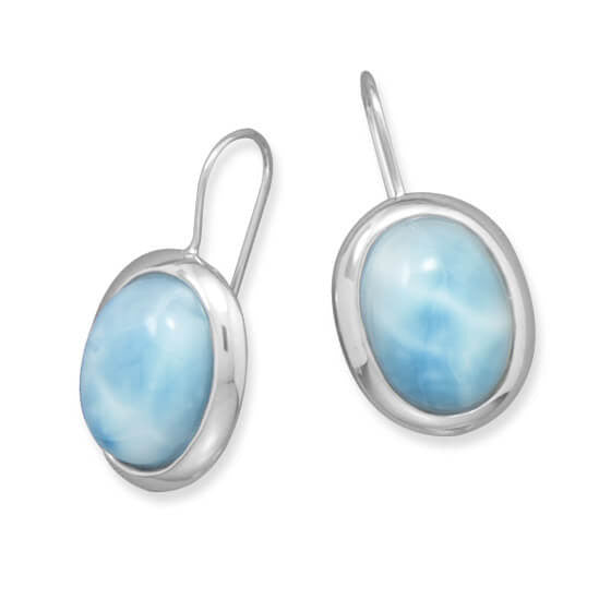 Rhodium Large Oval Larimar Earrings-Earrings-Here Comes The Bling™