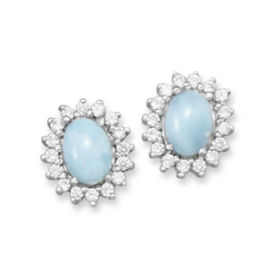 Rhodium Larimar Earrings with CZs-Earrings-Here Comes The Bling™
