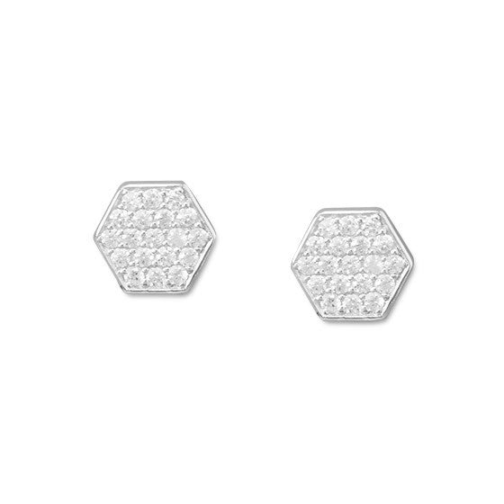 Rhodium Pave CZ Hexagon Earrings-Earrings-Here Comes The Bling™