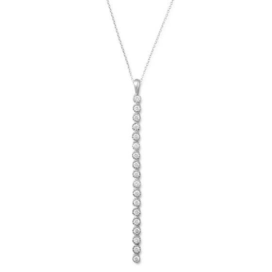 Rhodium Plated CZ Matchstick Necklace-Necklaces-Here Comes The Bling™