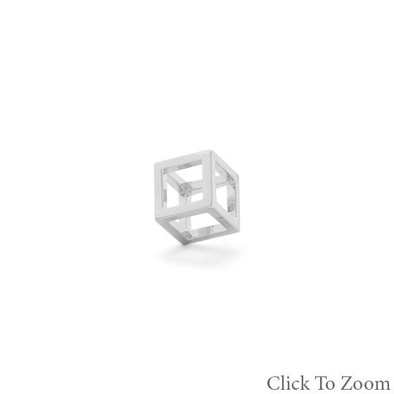 Rhodium Plated Floating Cube Pendant-Pendants & Charms-Here Comes The Bling™