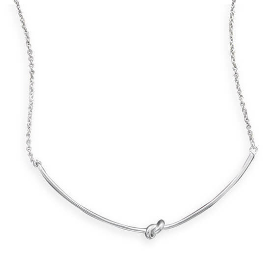 Rhodium Plated Knot Necklace-Necklaces-Here Comes The Bling™