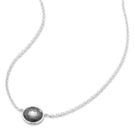 Rhodium Plated Round Freeform Faceted Quartz over Hematite Necklace-Necklaces-Here Comes The Bling™