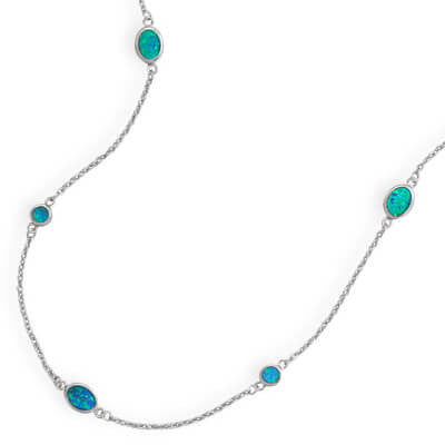 Rhodium Plated Synthetic Blue Opal Necklace-Necklaces-Here Comes The Bling™