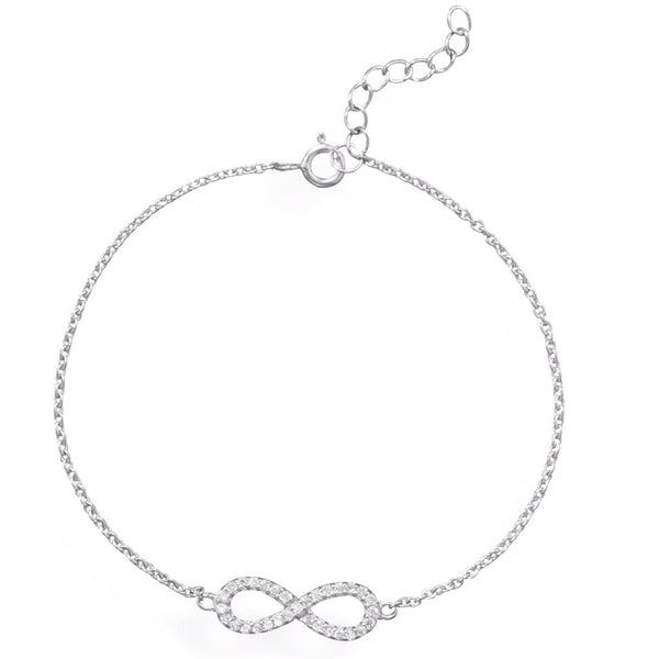 Rhodium Silver CZ Infinity Bar Bracelet-Bracelets-Here Comes The Bling™