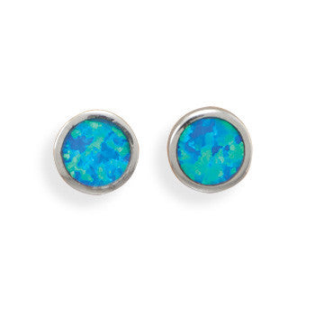 Rhodium Synthetic Opal Stud Earrings-Earrings-Here Comes The Bling™