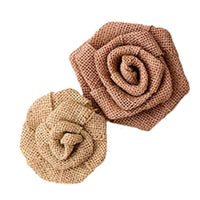 Rolled Burlap Flowers - Large or Small in a Pack of 6-Decor-Flowers-Here Comes The Bling™