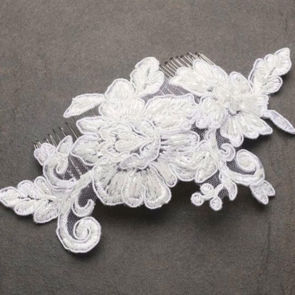 Romantic English Rose Lace Wedding Comb (Available in 2 Colors)-Combs-Here Comes The Bling™
