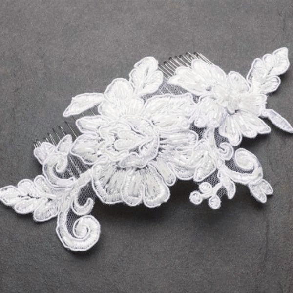 Romantic English Rose White Lace Wedding Comb