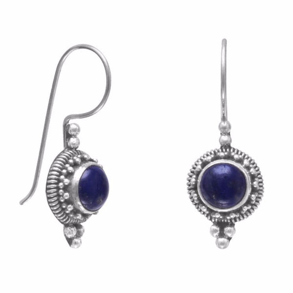 Rope Edge Lapis Earrings on French Wire-Earrings-Here Comes The Bling™