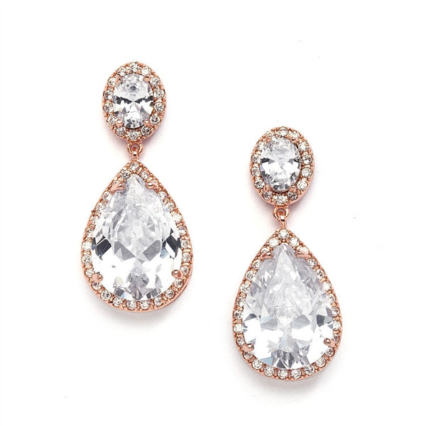 Rose Gold CZ Pear-shaped Drop Bridal Clip-On Earrings-Earrings-Here Comes The Bling™