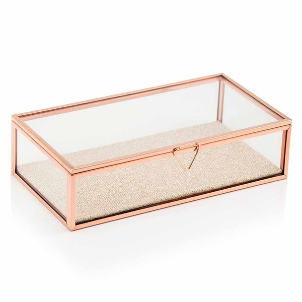 Rose Gold Glass Jewelry Box with Sparkle Fabric Bottom-Jewelry Box-Here Comes The Bling™