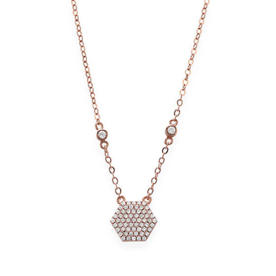 Rose Gold Necklace with CZ Hexagon-Necklaces-Here Comes The Bling™