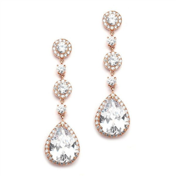 Rose Gold Pear-Shaped Halo CZ Bridal Earrings-Earrings-Here Comes The Bling™