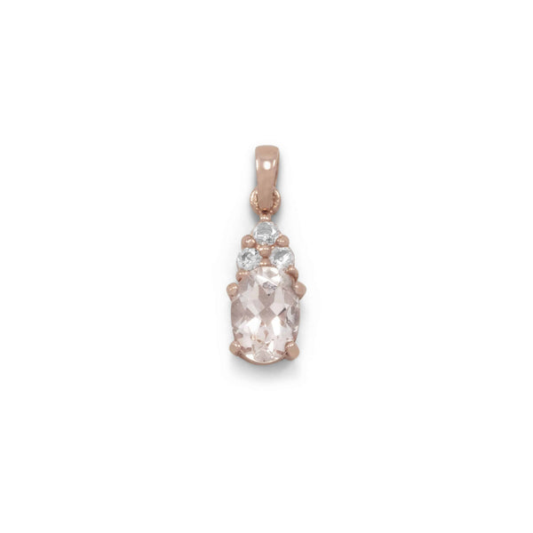Rose Gold Pendant with Morganite and White Topaz-Pendants & Charms-Here Comes The Bling™