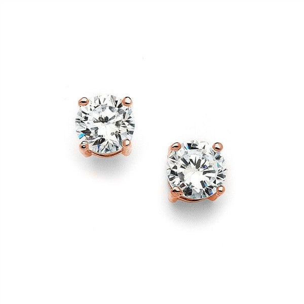 Rose Gold Round Cubic Zirconia Stud Earrings-Earrings-Here Comes The Bling™