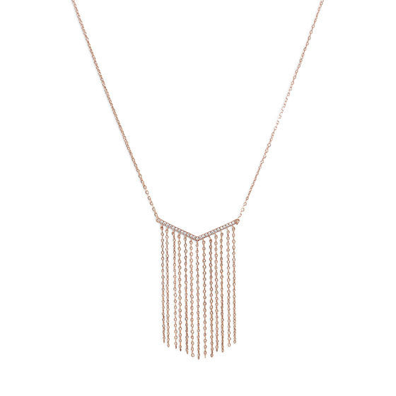 "Rose Gold ""V"" Tassel Drop Necklace-Necklaces-Here Comes The Bling™"
