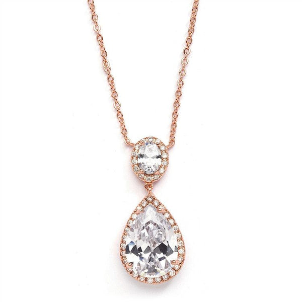Rose_Gold Couture Cubic Zirconia Pear-Shaped Bridal Necklace-Necklaces-Here Comes The Bling™