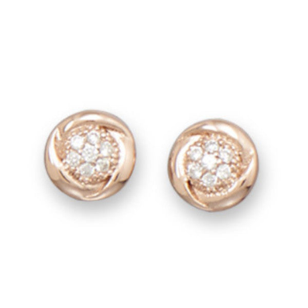 Round 14 Karat Rose Gold CZ Stud Earrings-Earrings-Here Comes The Bling™