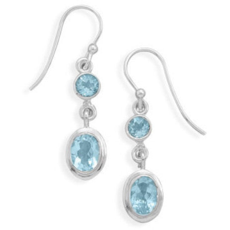 Round and Oval Blue Topaz Earrings on French Wire-Earrings-Here Comes The Bling™