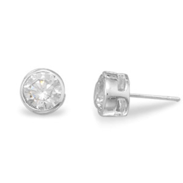 Round Bezel CZ Post Earrings-Earrings-Here Comes The Bling™