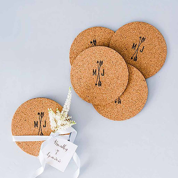 Round Cork Coasters (Pack of 25)-Favors-Coasters-Here Comes The Bling™