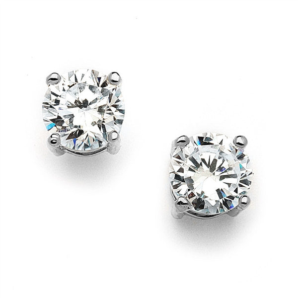 Round Cubic Zirconia Stud Earrings-Earrings-Here Comes The Bling™
