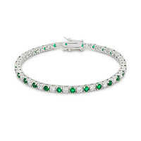 Round Cut Emerald Green CZ Tennis Bracelet-Bracelets-Here Comes The Bling