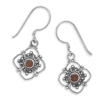 Round Faceted Flower Garnet Earrings on French Wire-Earrings-Here Comes The Bling™