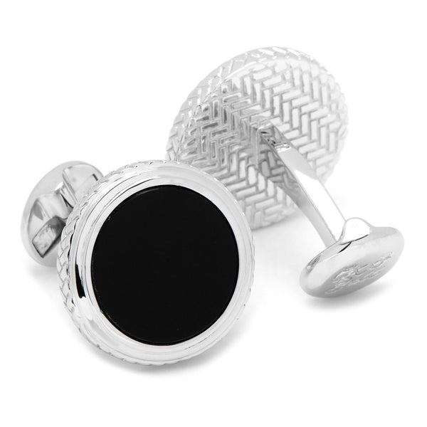 Round Onyx Opus Cufflinks-Cufflinks-Here Comes The Bling™