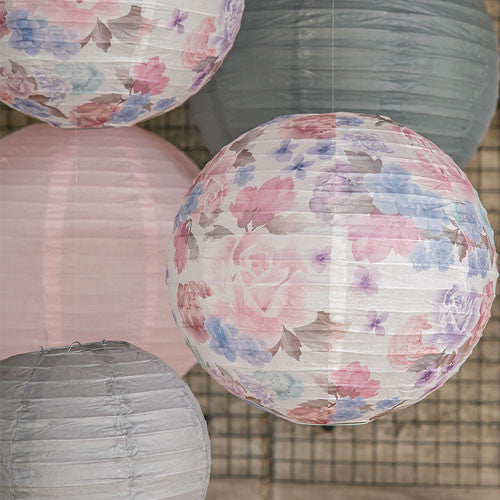 Round Paper Lantern with Vintage Floral Print (Available in 2 Sizes)-Decor-Hanging-Here Comes The Bling™